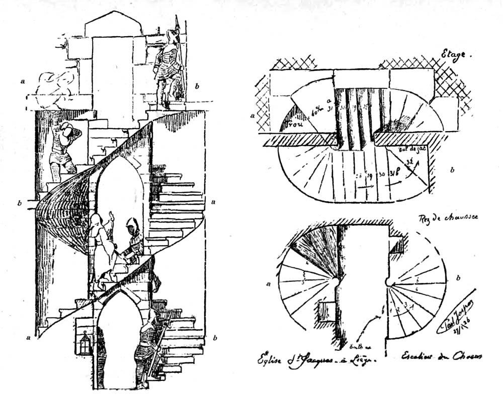 eglises de liege escalier a double vis de defense passive du choeur de l 39 glise saint jacques. Black Bedroom Furniture Sets. Home Design Ideas