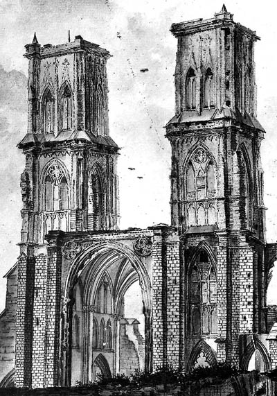 Fig. 8 - Ruines du choeur occidental par J. Dreppe en 1798-1799.